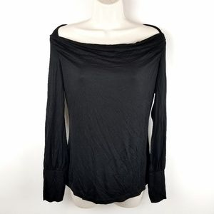 Halogen Black Scoop Drape Neck Knit Blouse Size M